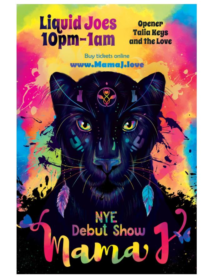 Mama J event poster mockup