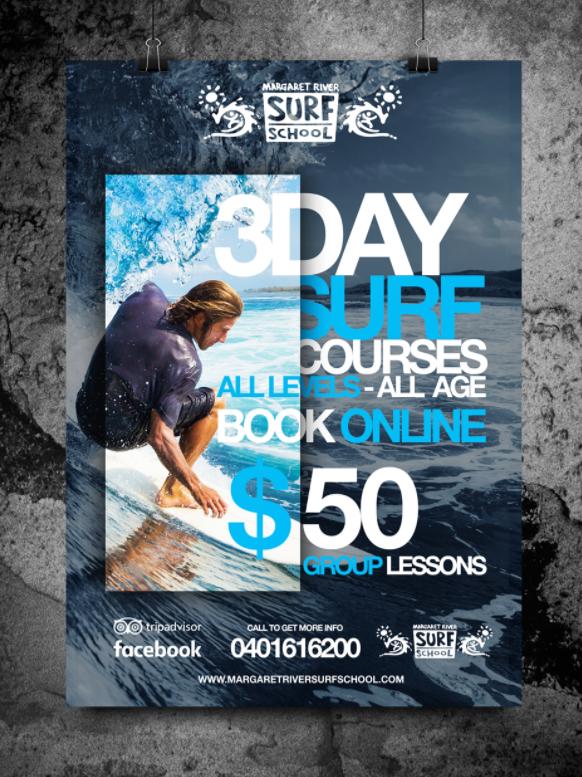 Margaret River Surf School poster mockup