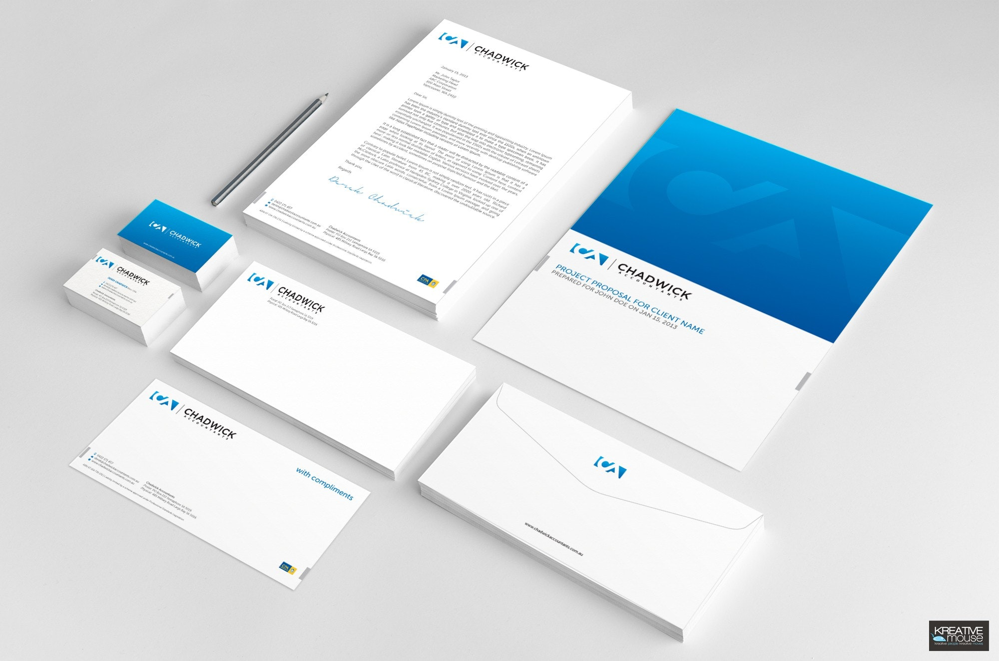 Blue and white business card design
