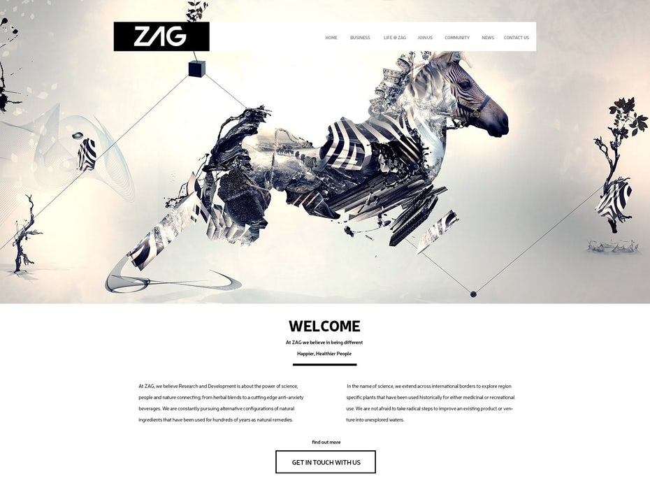 web design branding for beverage company