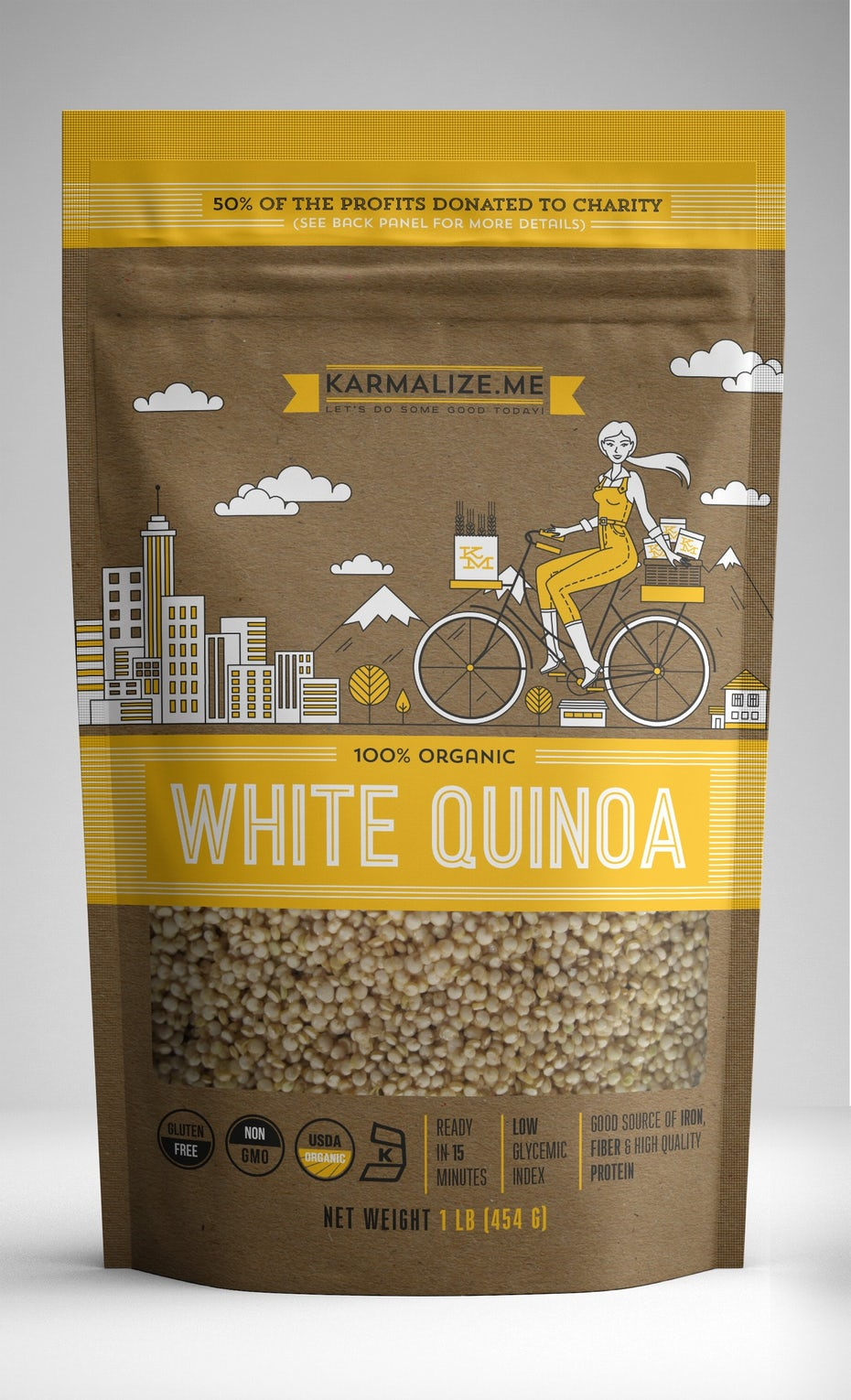 yellow quinoa packaging design