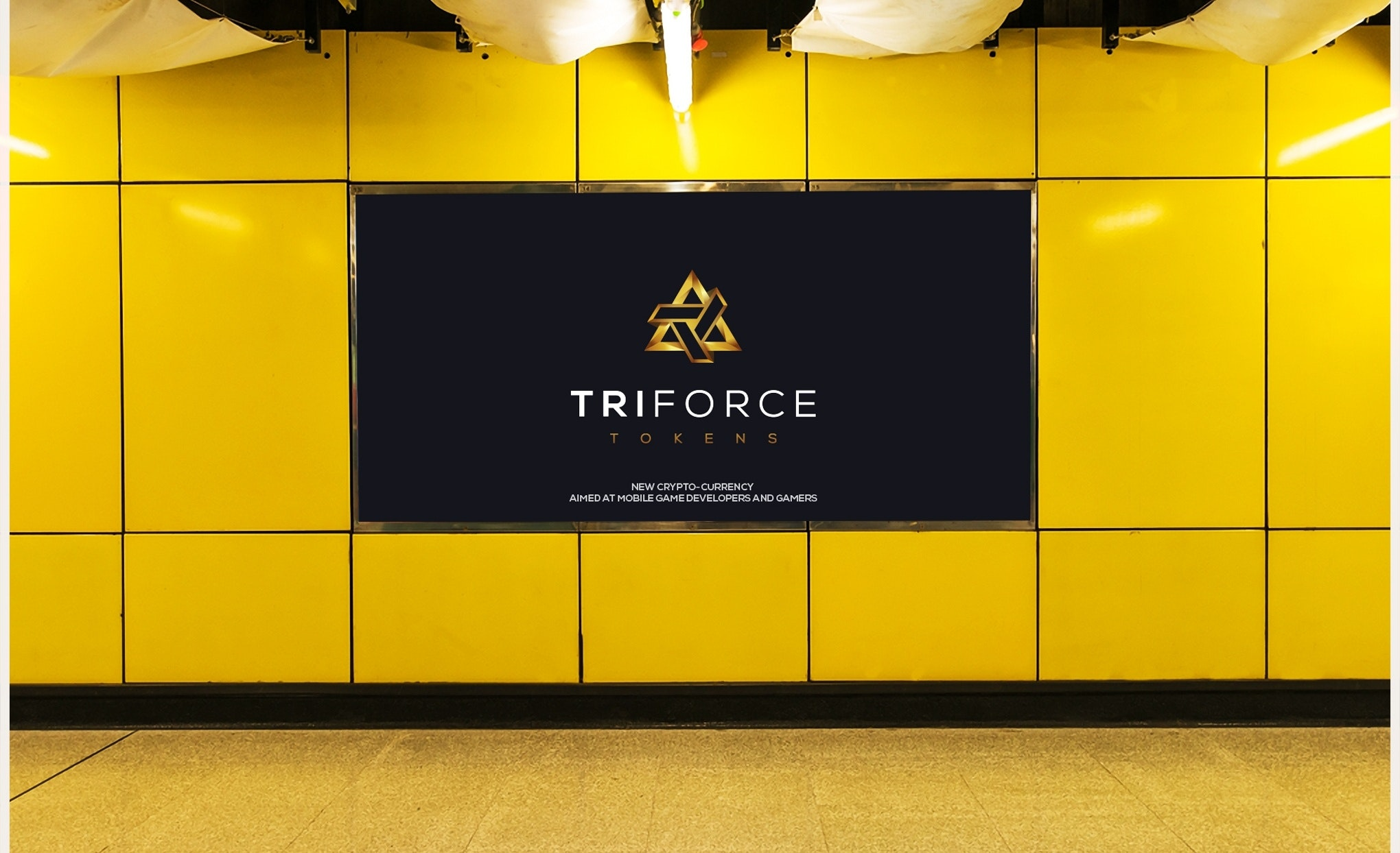 Gold logo design for cryptocurrency TriForce Tokens