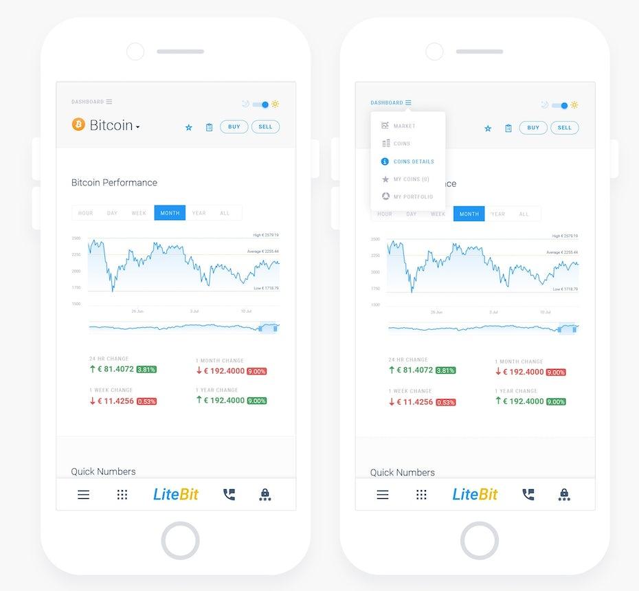 App design for trading portal LiteBit