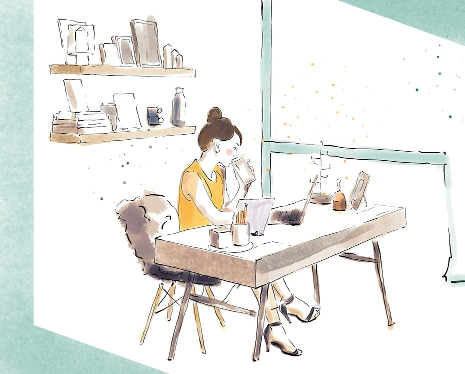 illustration of freelancer working