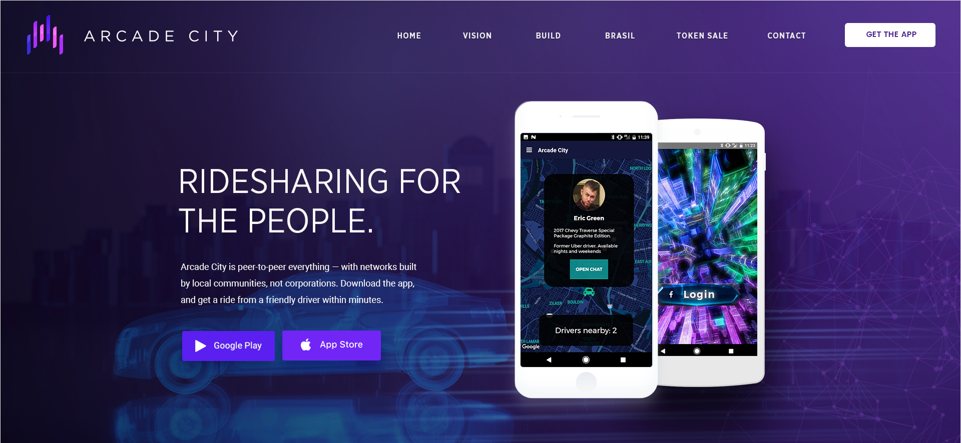 Web design for a cryptocurrency ridesharing app