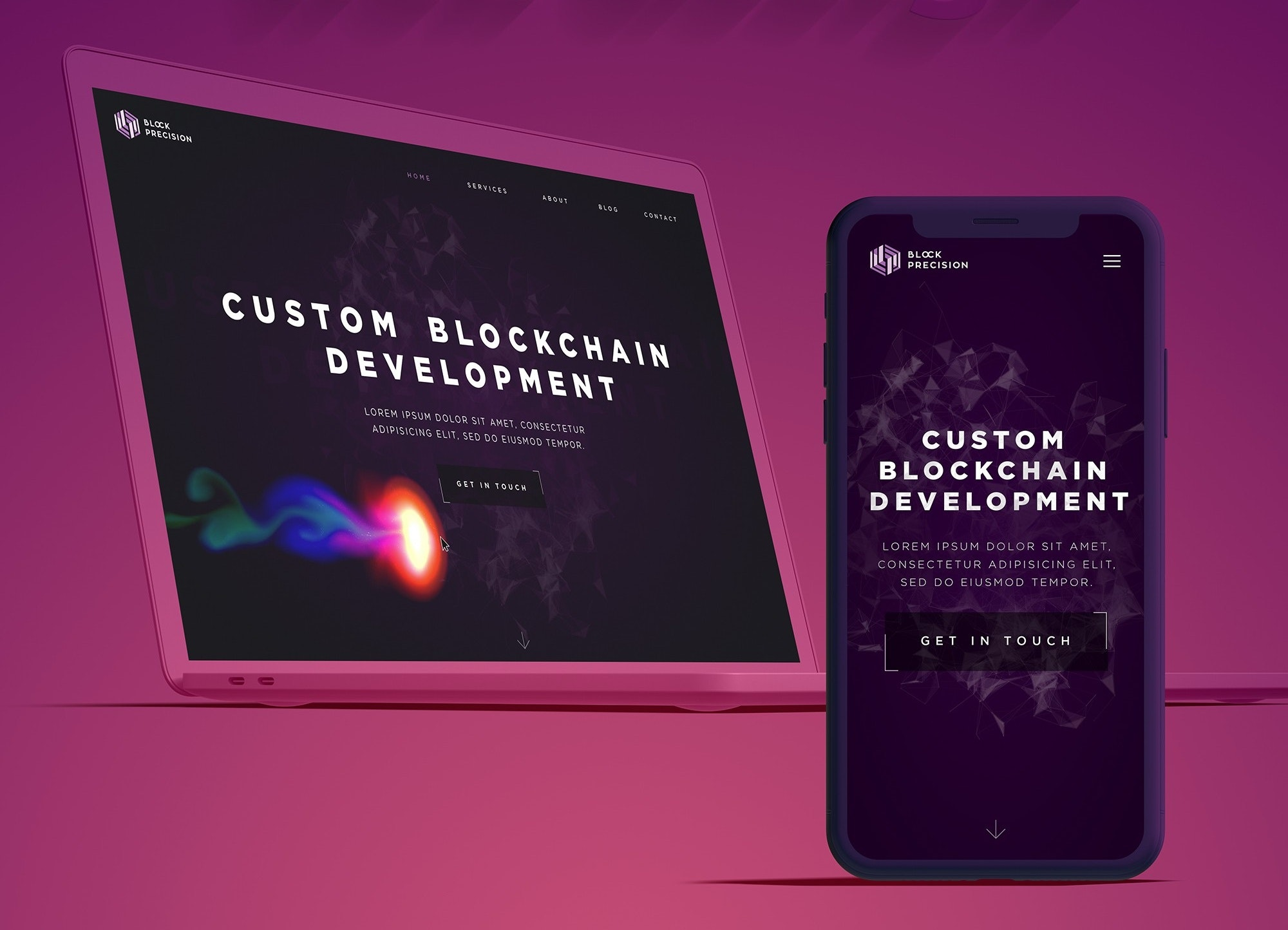web and app design for blockchain company