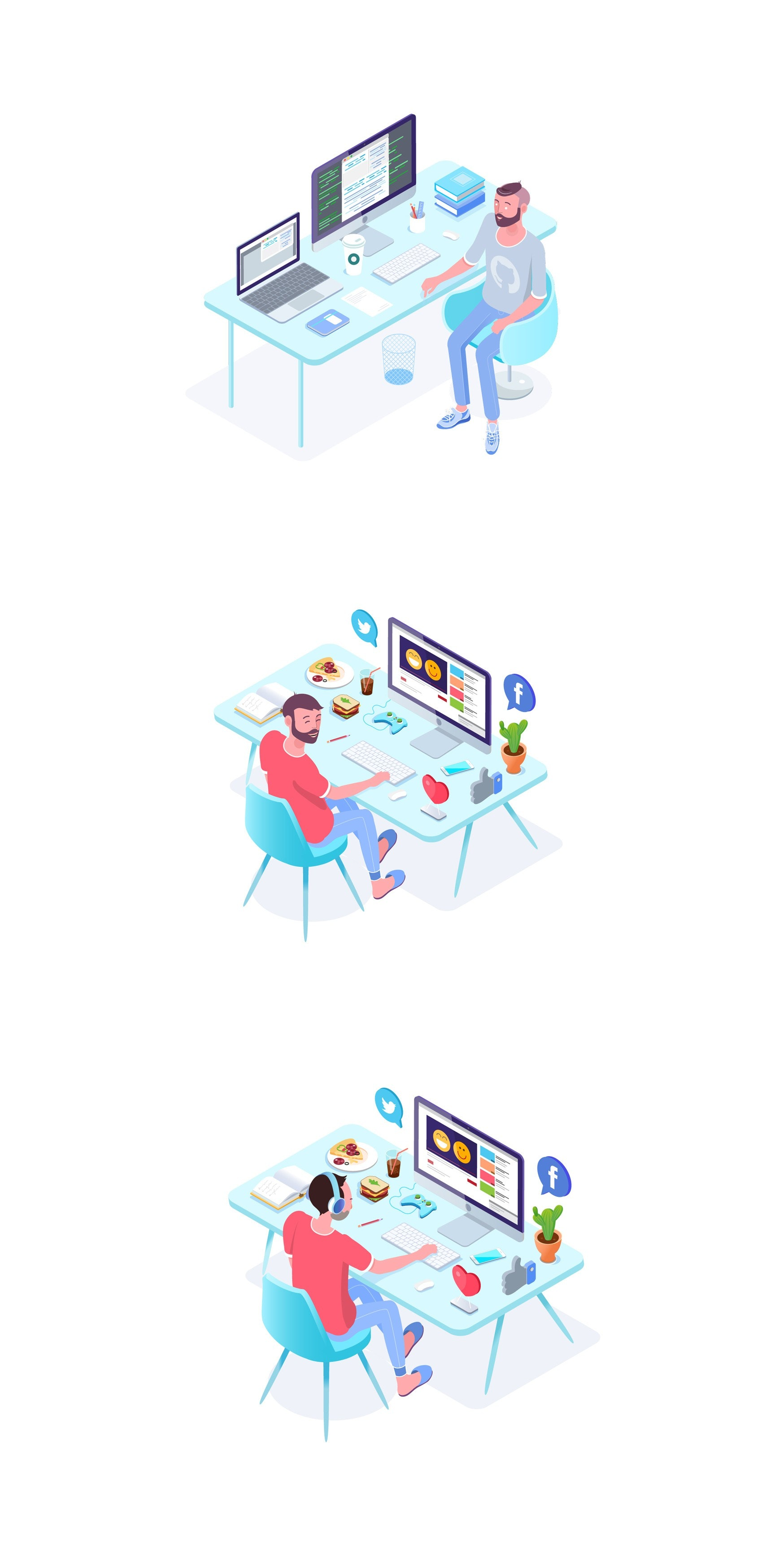 Isometric office characters