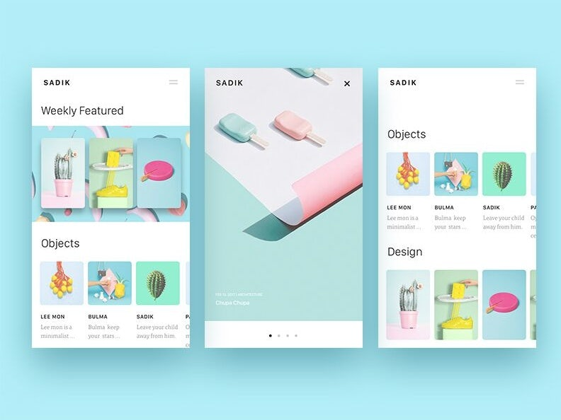 Pastel minimalism app design exploration
