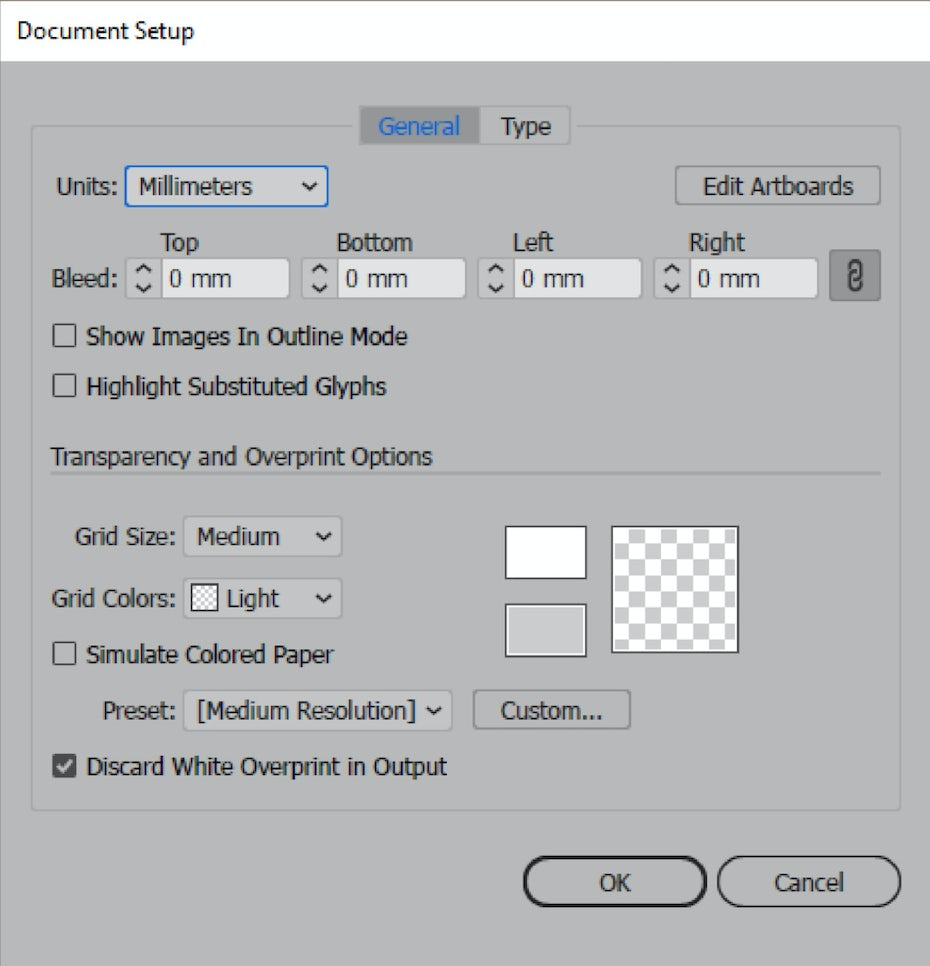 Illustrator document setup
