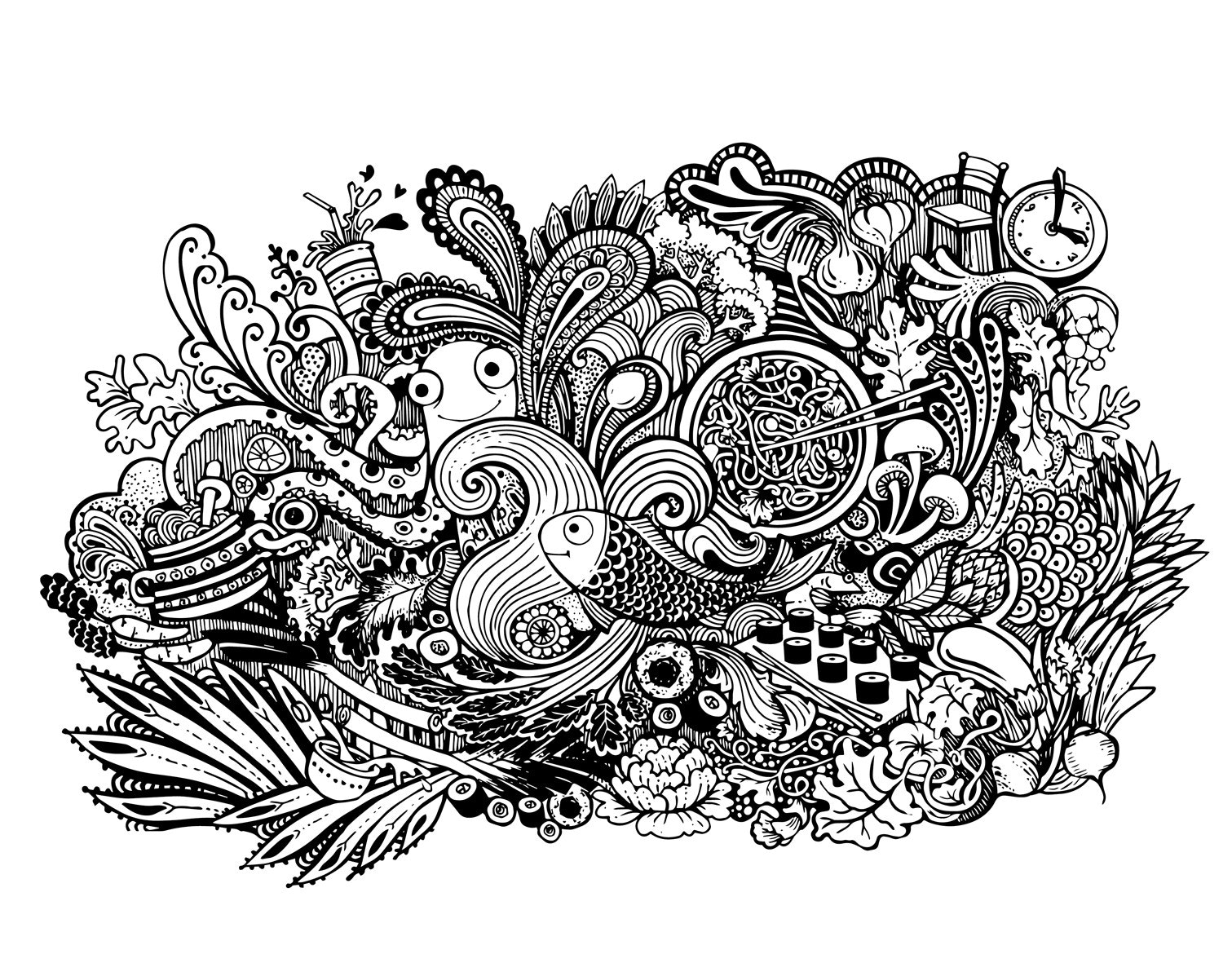 An intricate doodle style illustration