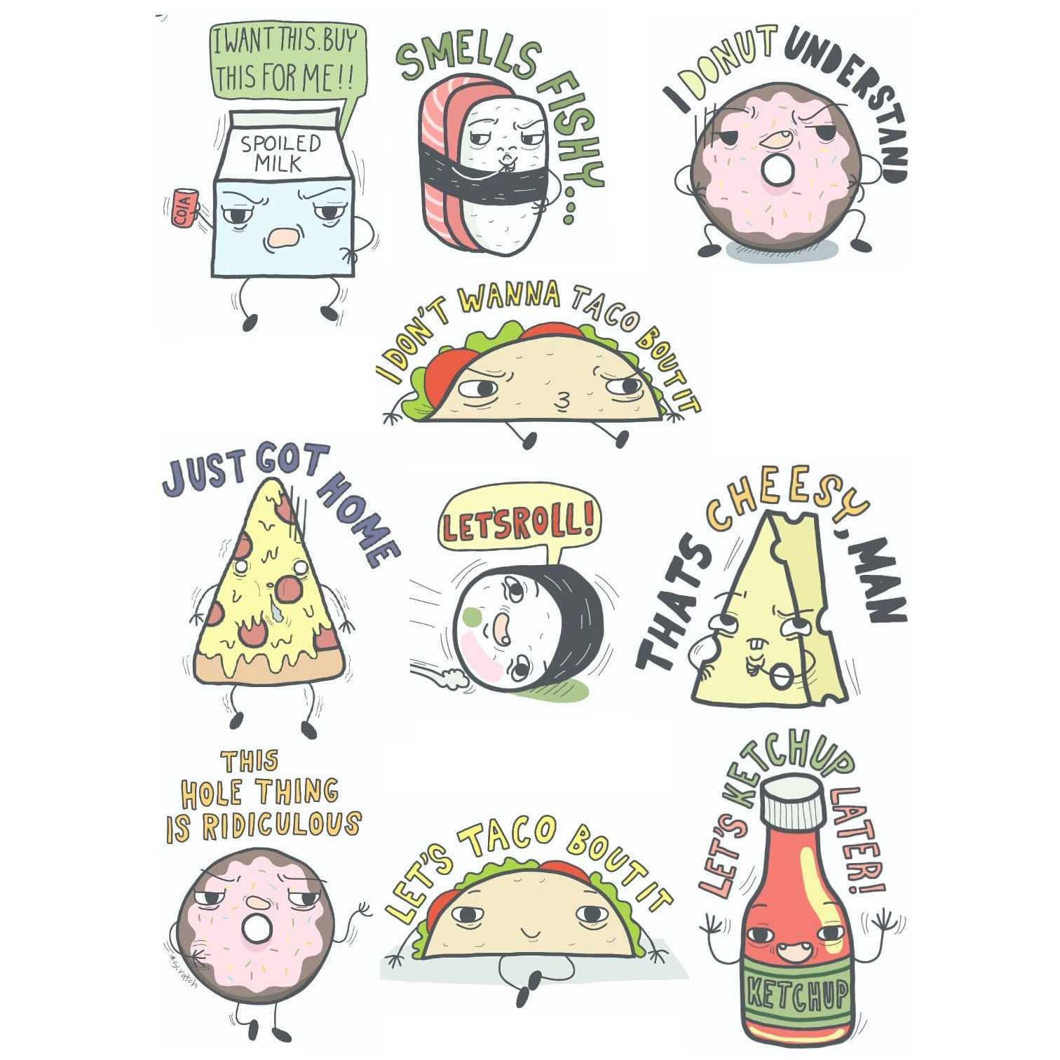 Illustrated stickers of food
