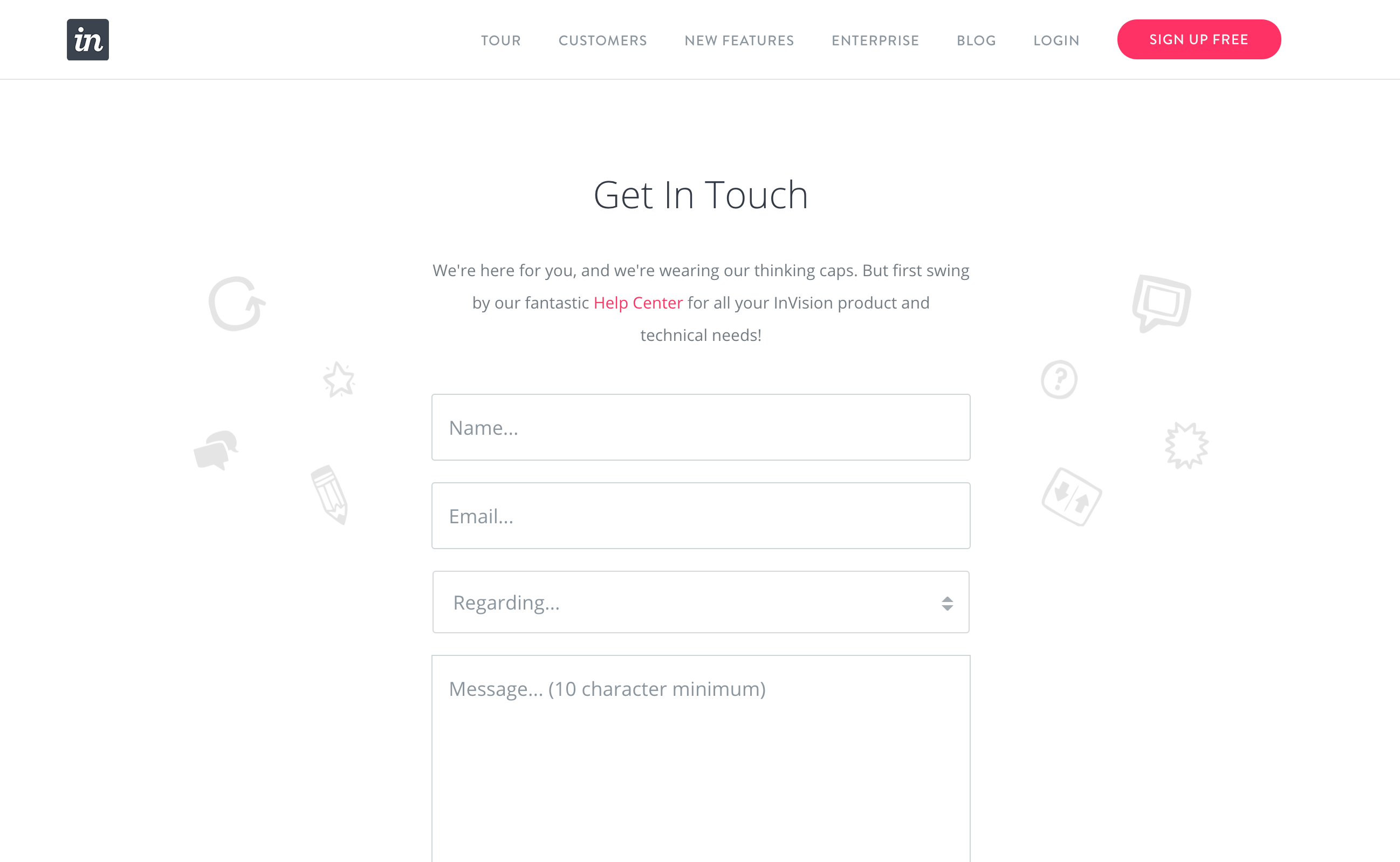 InVision contact page