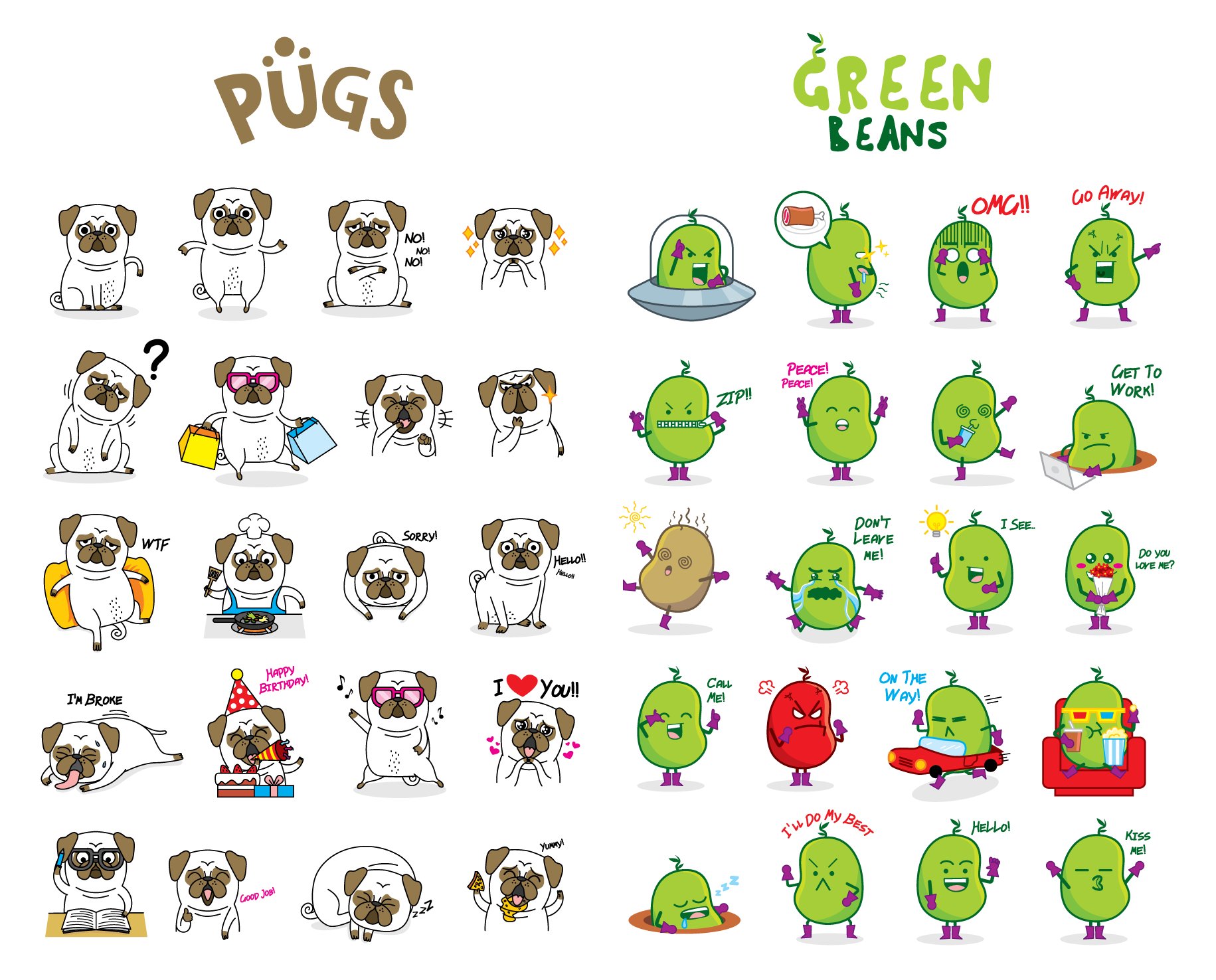 Pugs and green bean sticker pack