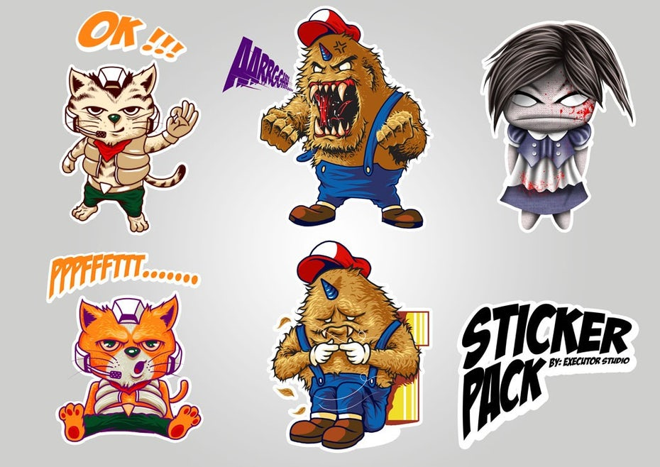 Sticker with video game-inspired cartoon characters