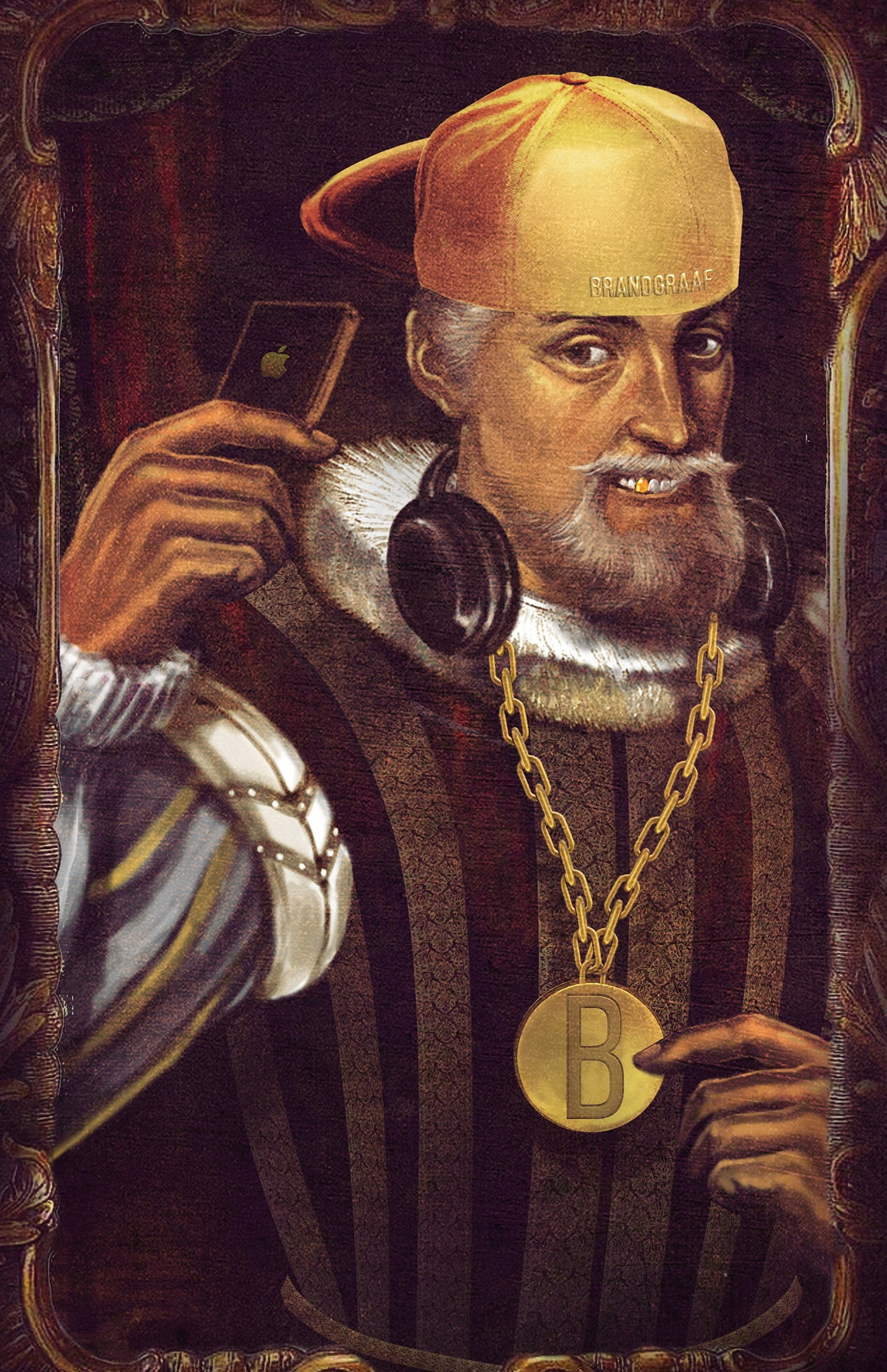 A portrait illustration of a royal character with a gold chain