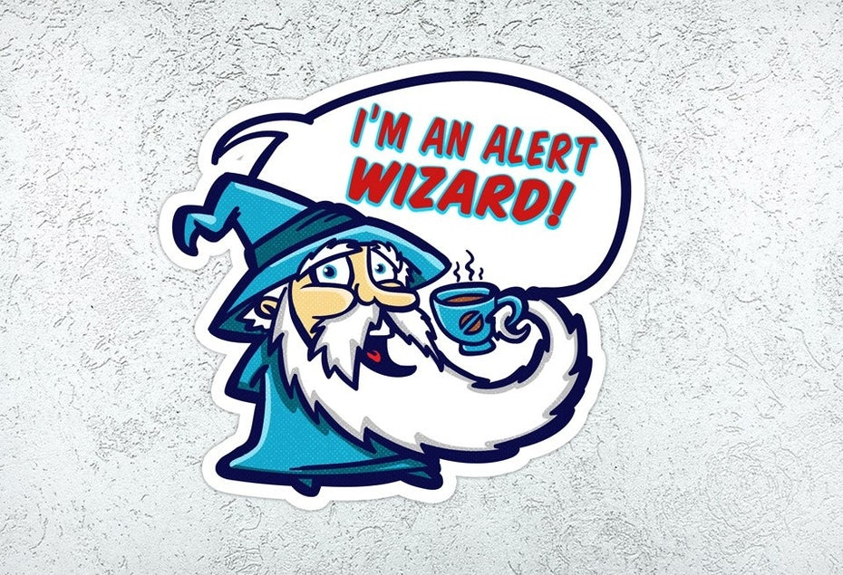 Alert wizard sticker