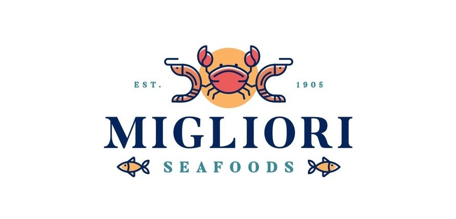 Migliori seafoods Logo mit lineart