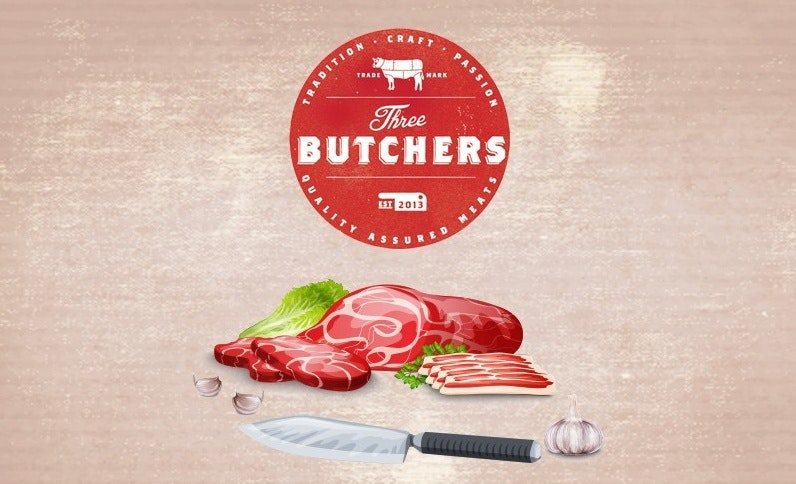Vintage sticker design for Three Butchers