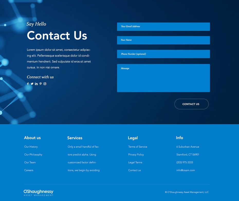 contact page designed by Acolle
