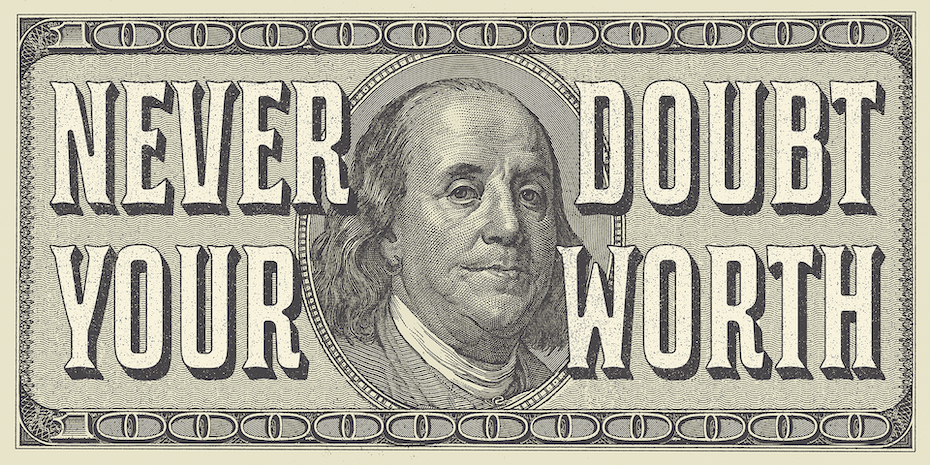 Inspirational poster design of a hundred dollar bill