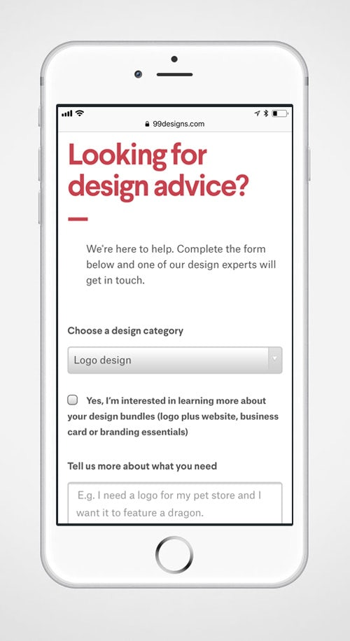 99designs mobile contact page