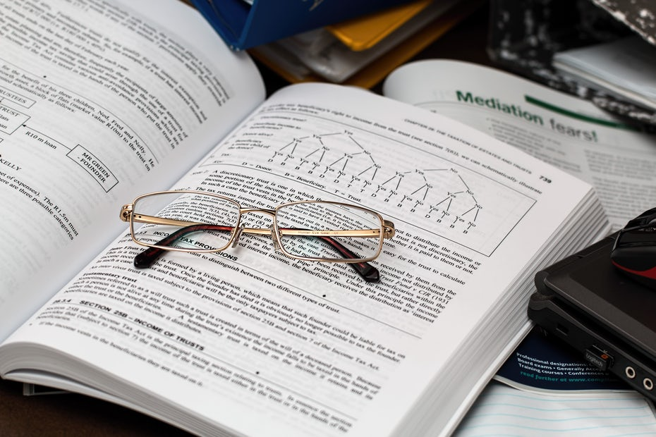 Accounting book with glasses