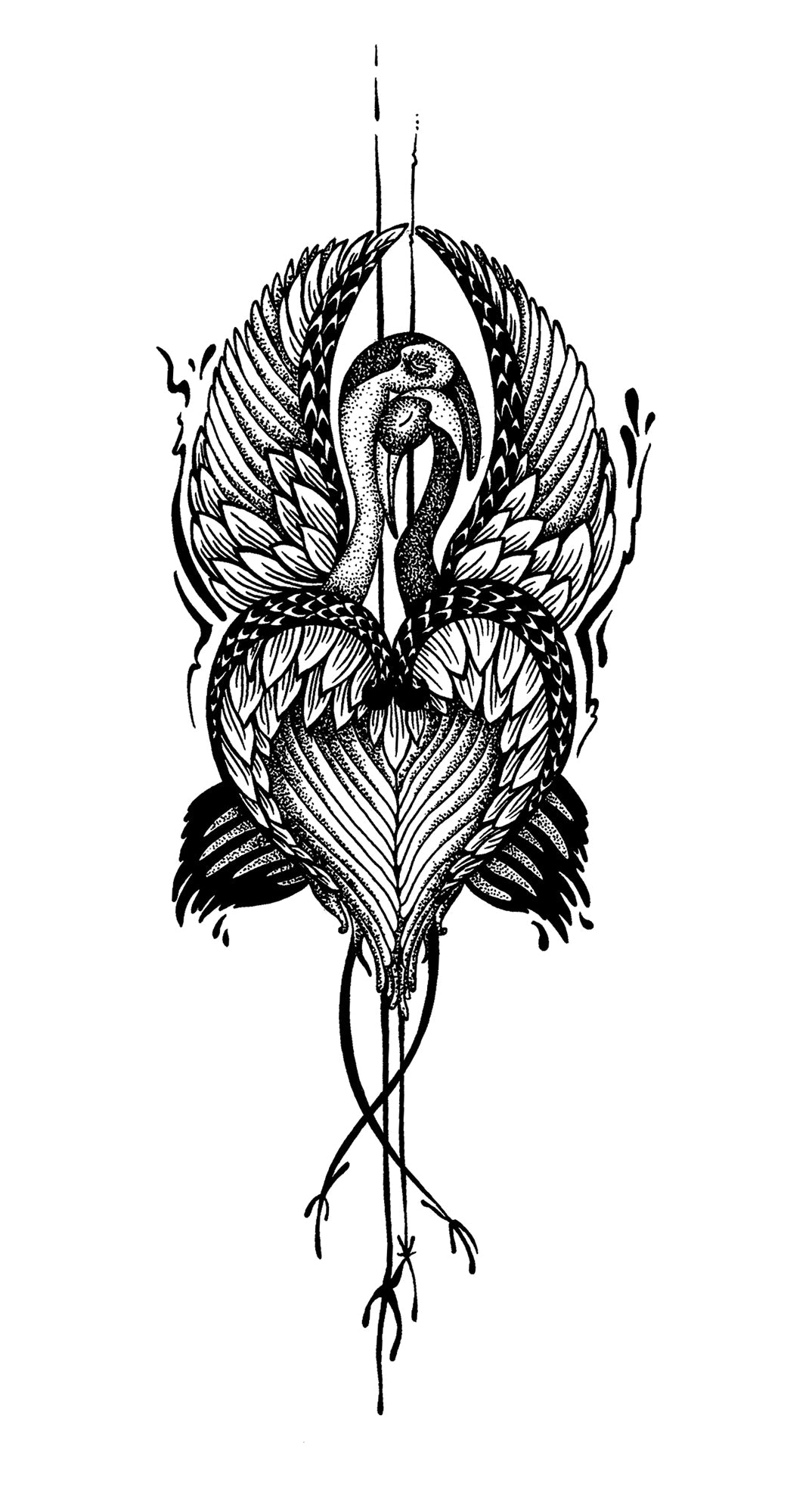 Crane tattoo design