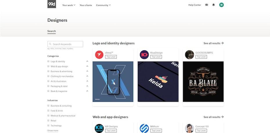 designer search on 99designs