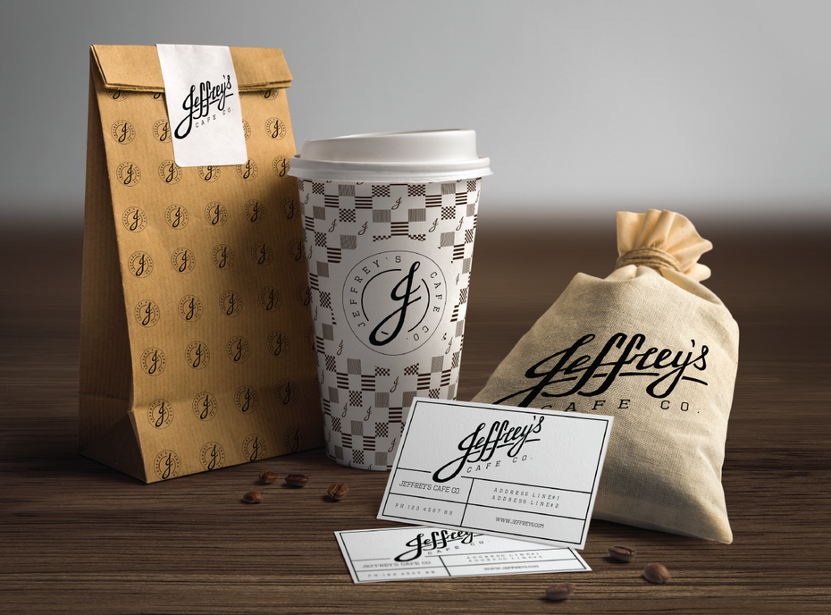 logo and brand identity pack for Jeffrey's Cafe Co.