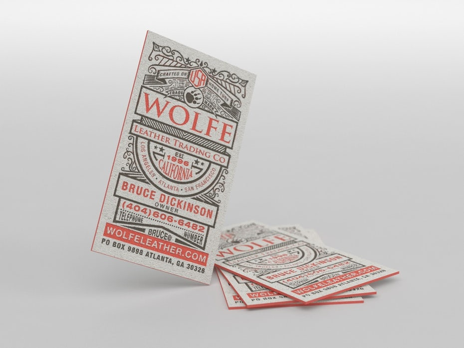 Wolfe Leather Trading Co. Business Card