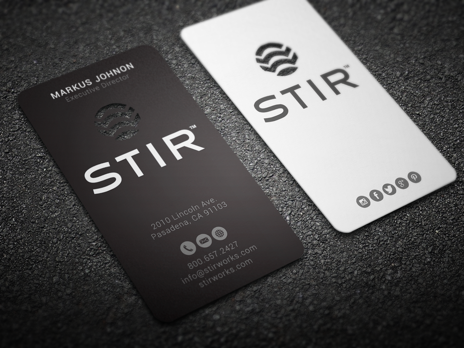 STIR business card design