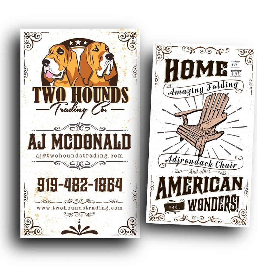 Two Hounds Trading Co. business card design