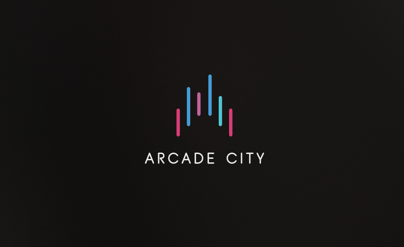 Arcade city logo mit bunter grafik