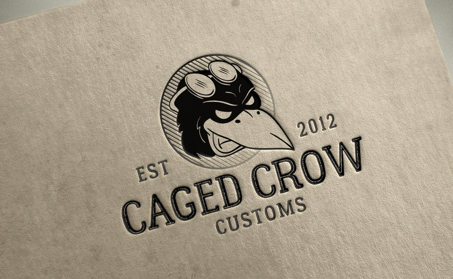 A mascot logo showing a crow character