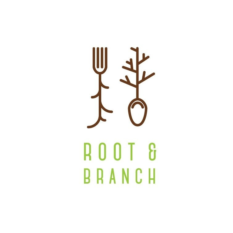 Spoon and fork with roots
