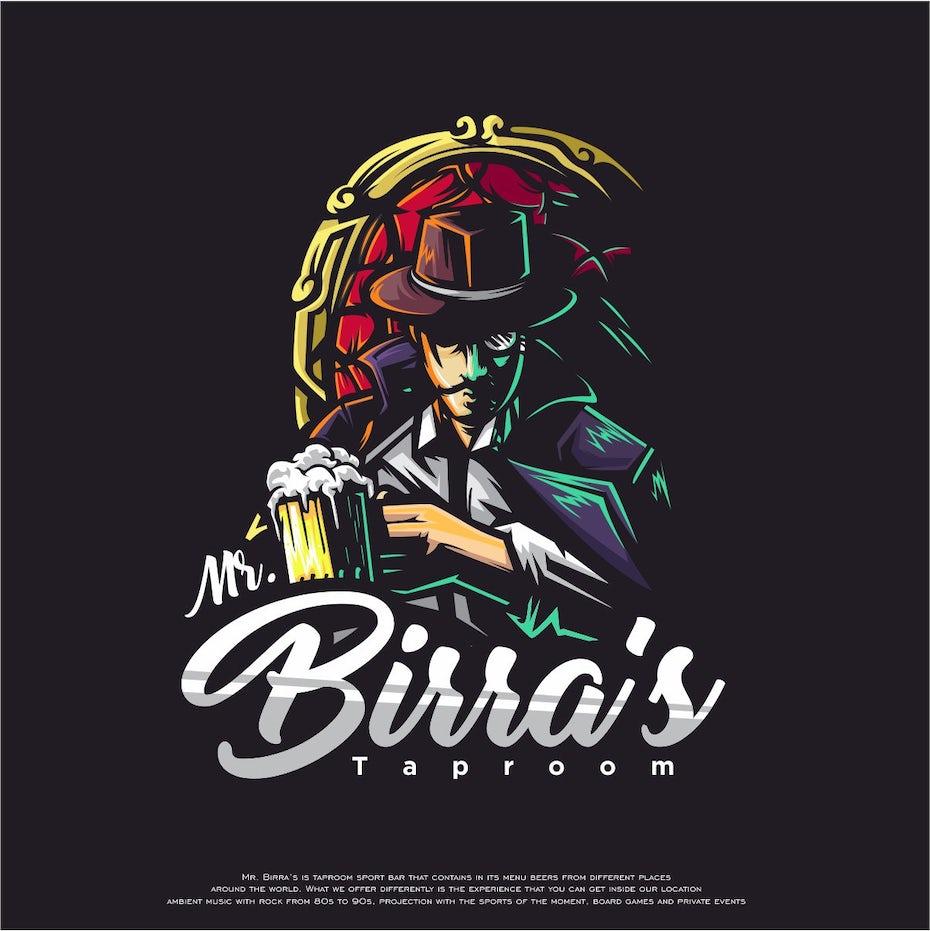 A colorful barroom mascot logo