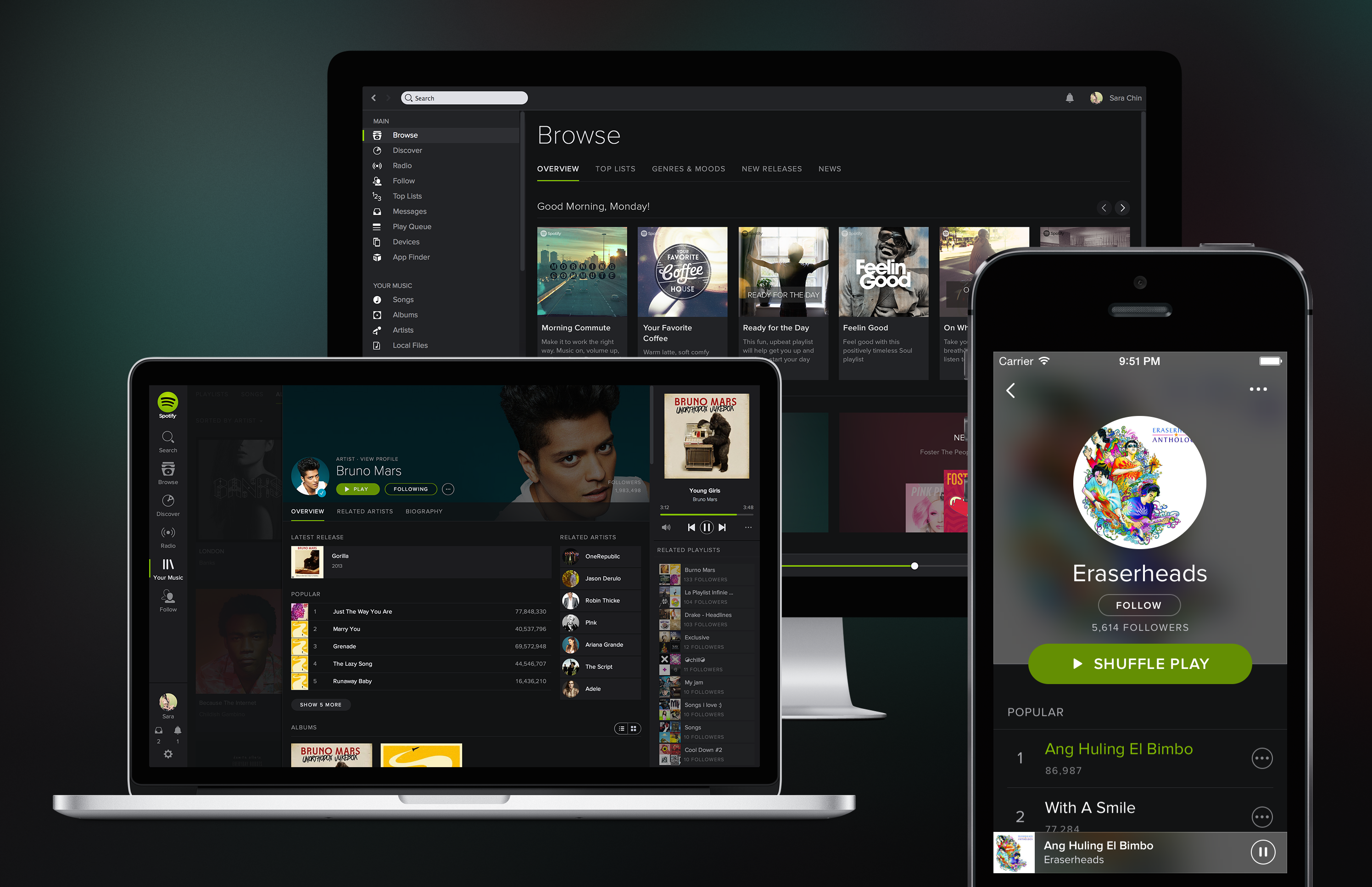 spotify desktop and mobile design