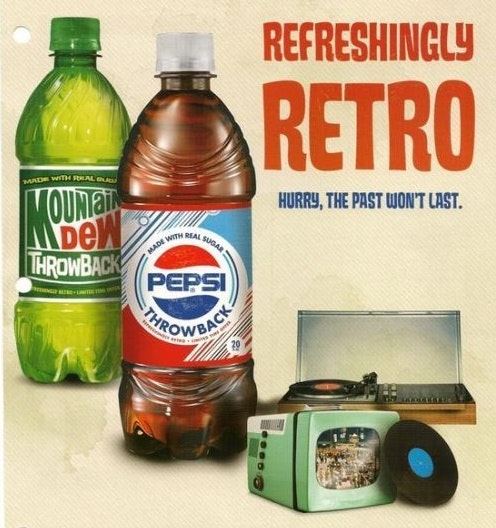 Throwback Pepsi and Mountain Dew bottles in an advertisement for the throwback packaging