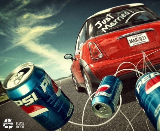 Pepsi ad with Mini Cooper