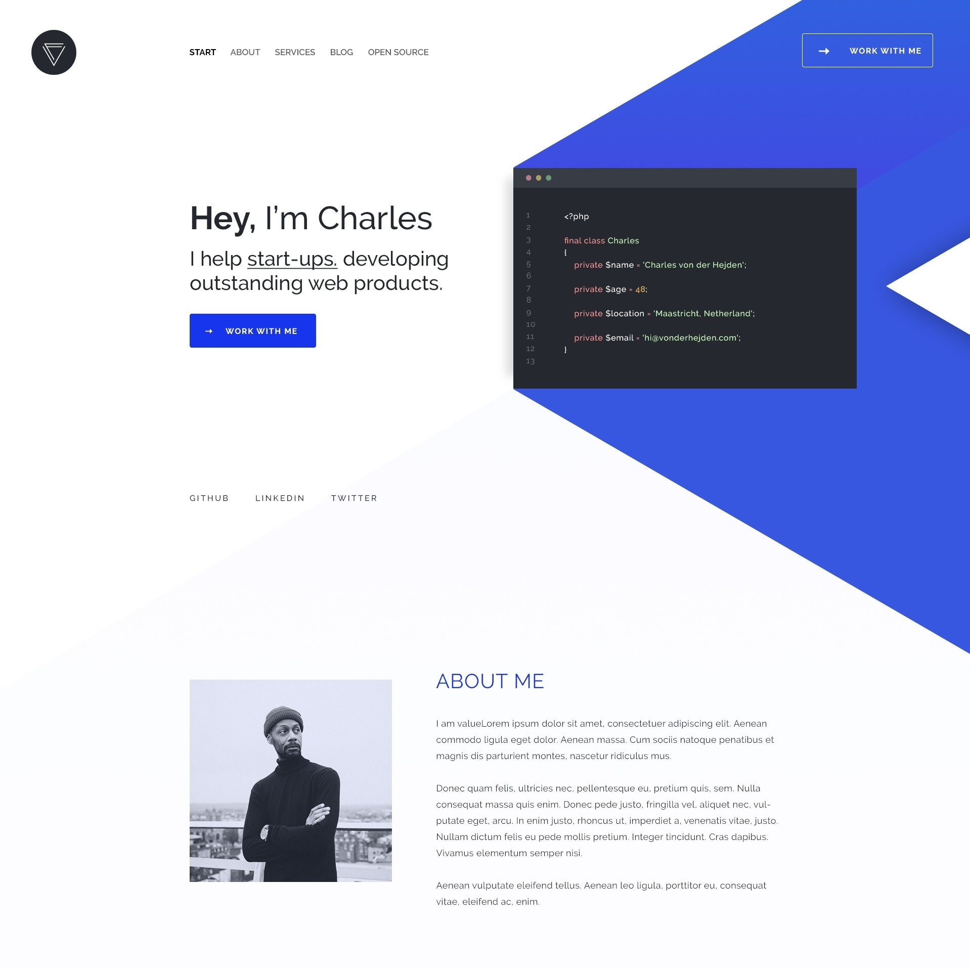 geometric blue and black web design