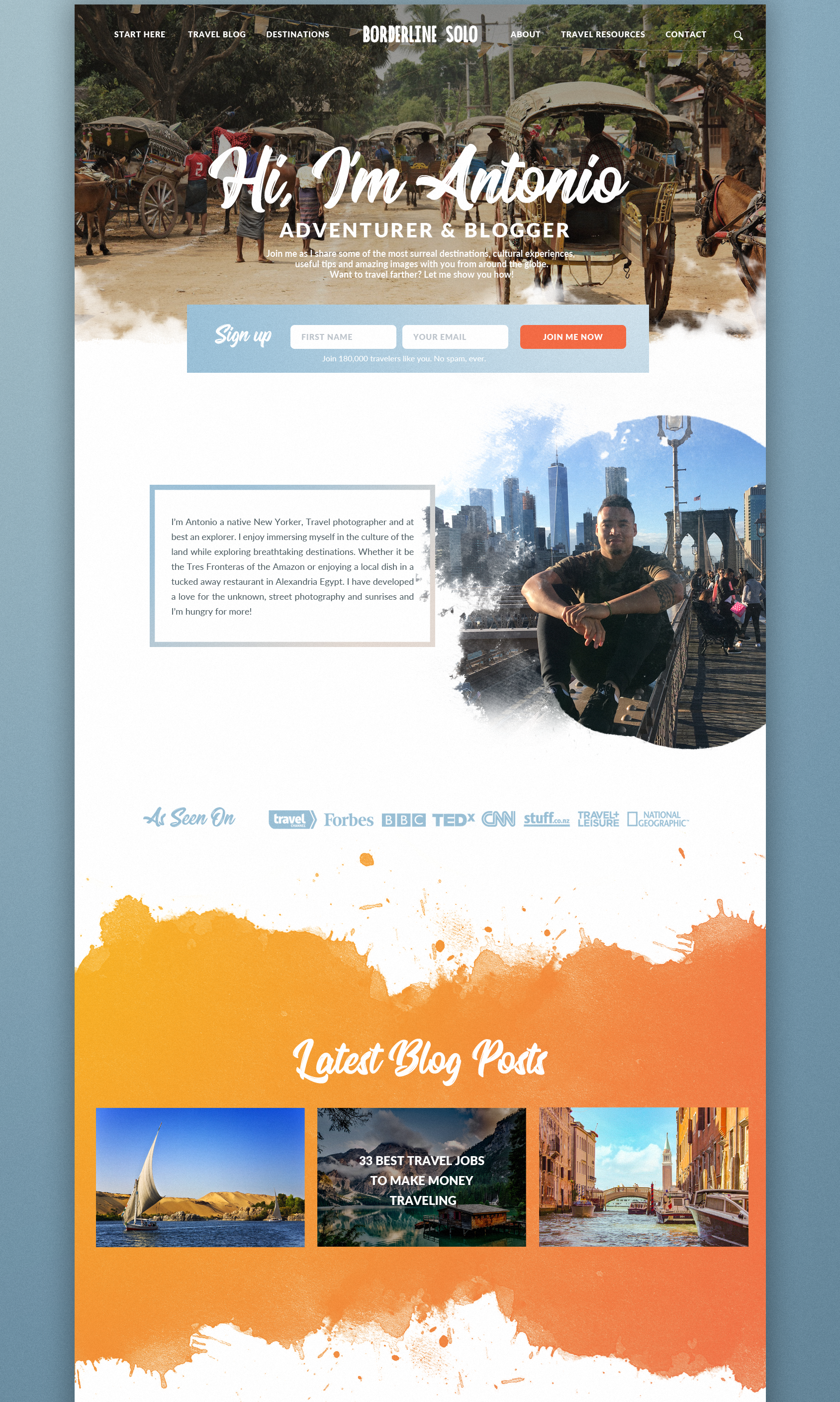 travel blog design