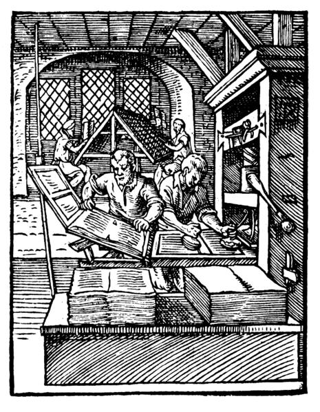 historia del diseño gráfico, Imprenta de madera antigua, representada en 1568.