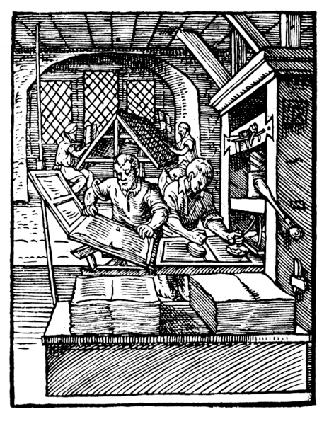 Early wooden printing press, depicted in 1568.
