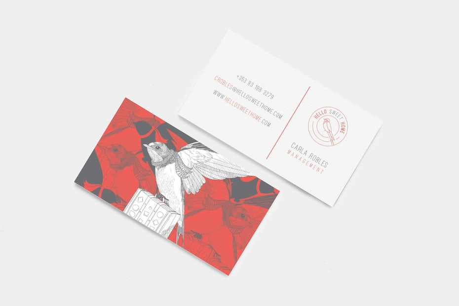 Red and grey business card with bird illustration