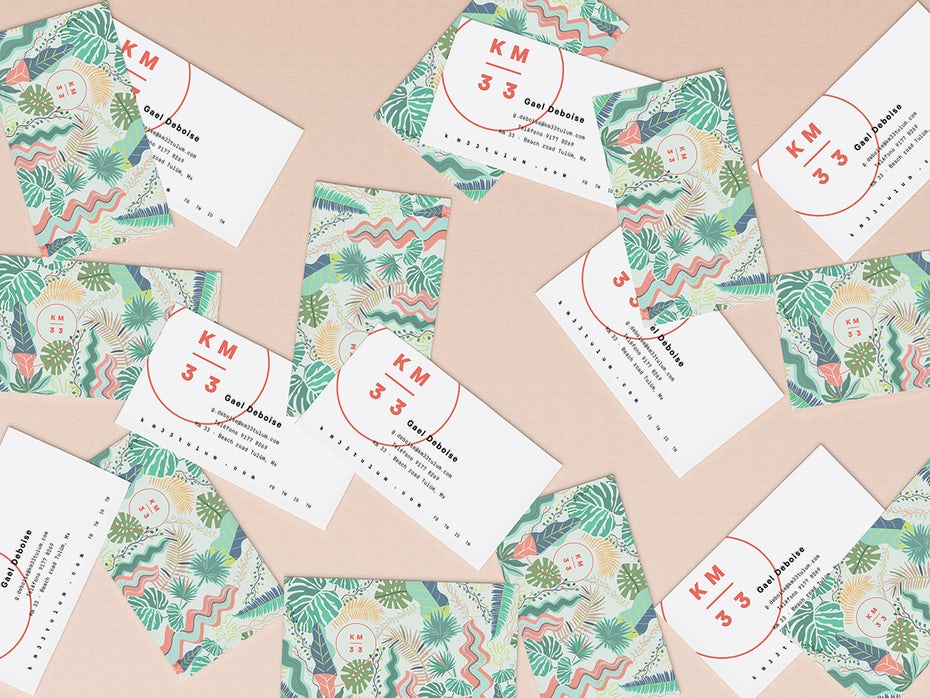 Floral pattern on a business card