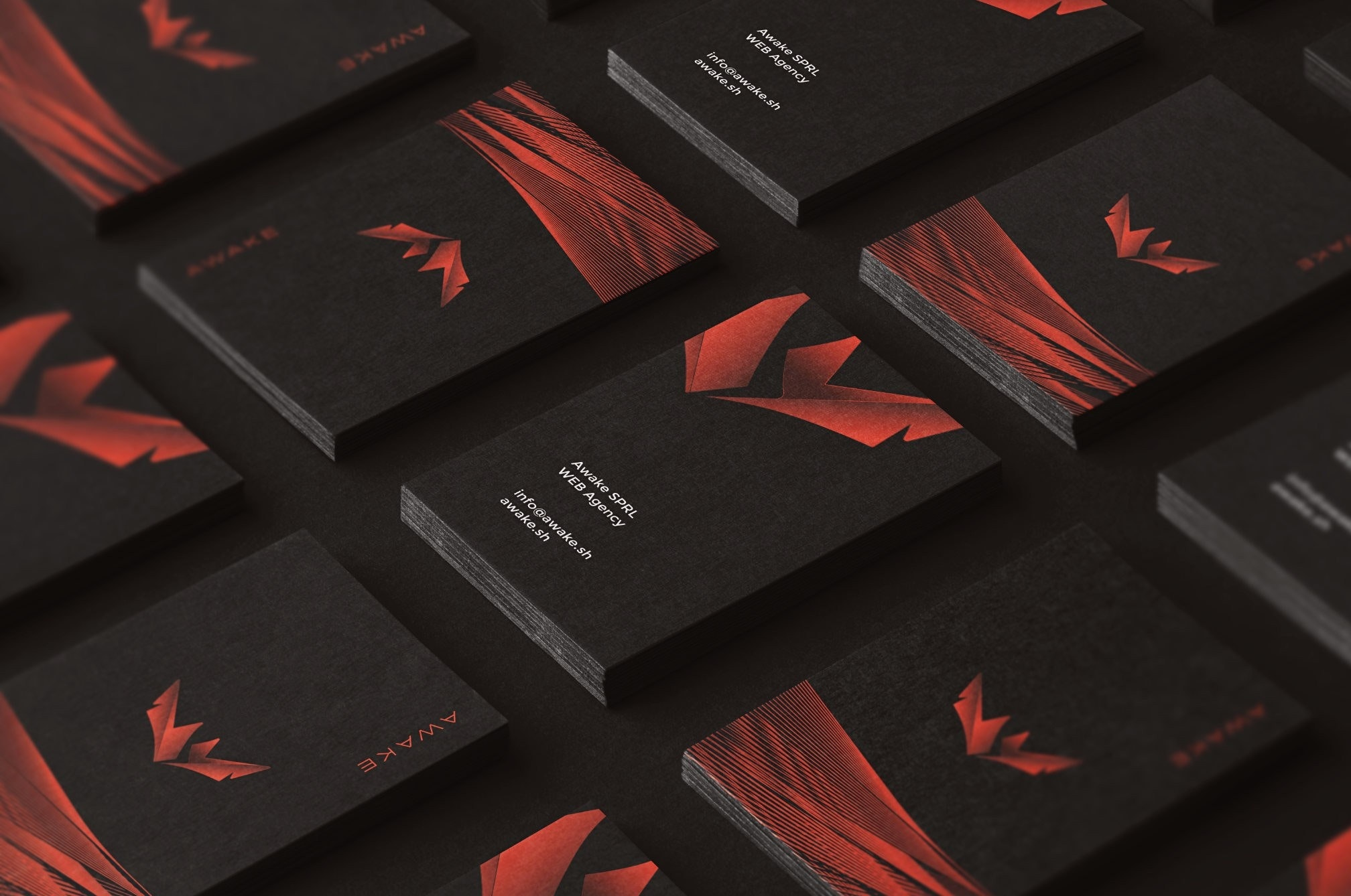 Black and red modern business card