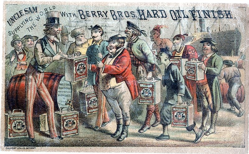 early chromolithography ad with uncle sam