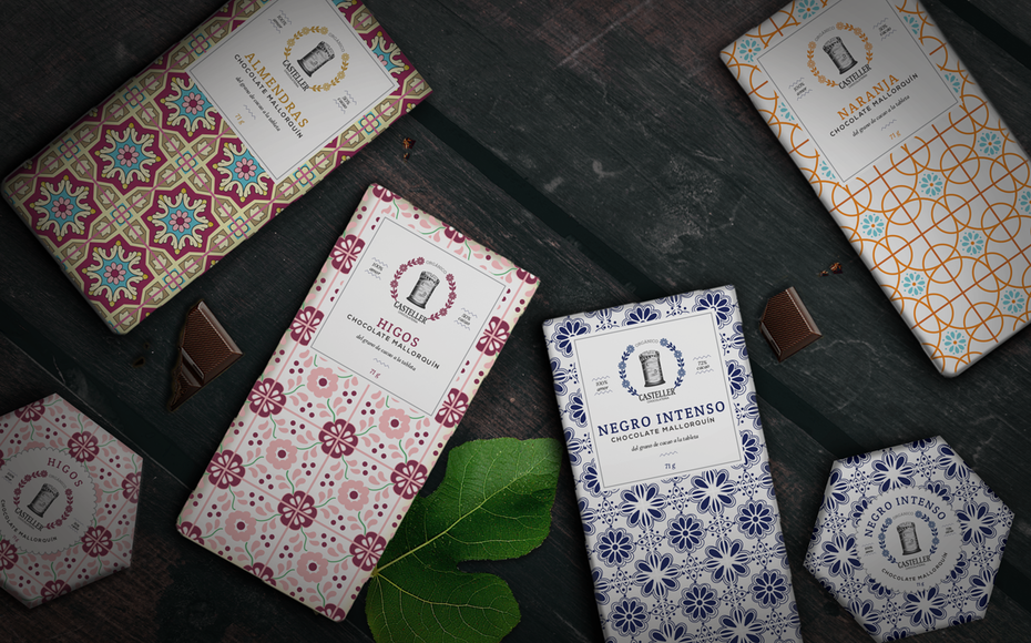 tile patterns on chocolate bars