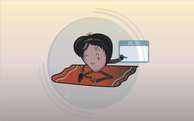 cartoon character using calendar illustration