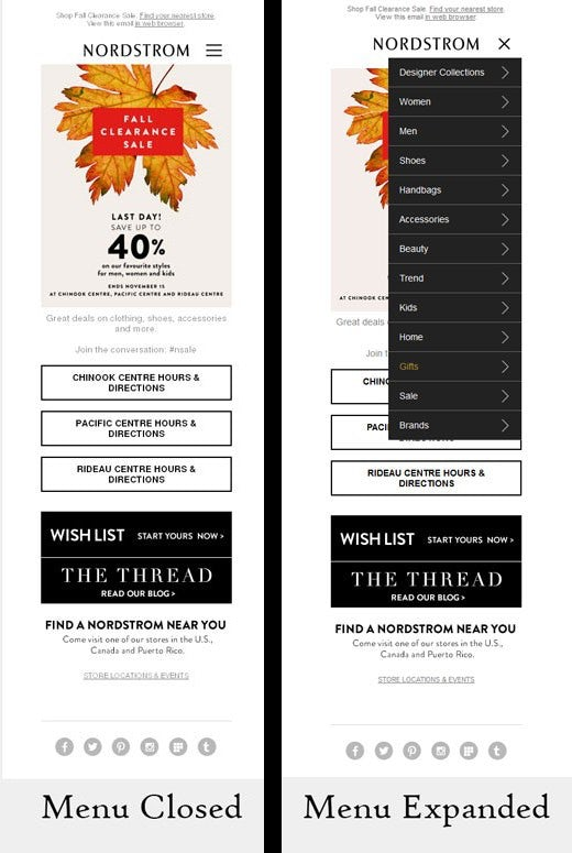 Nordstrom mobile menu